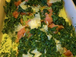 Laks med fløde,spinat og pasta